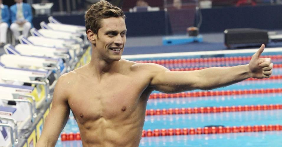 Italiano Luca Dotto gesticula após conquistar a prata nos 50 m livre no Mundial de Xangai (30/07/2011)