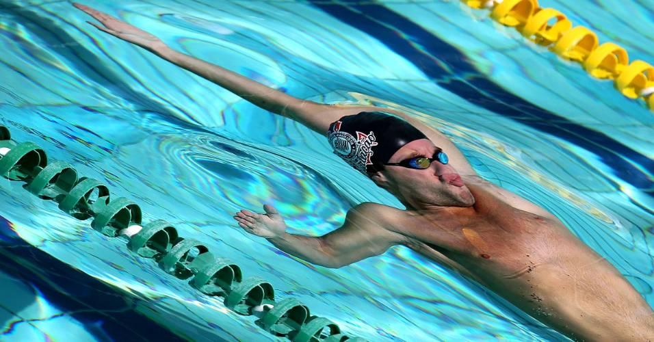 Thiago Pereira durante a final dos 200 m costas (30/08/2011)