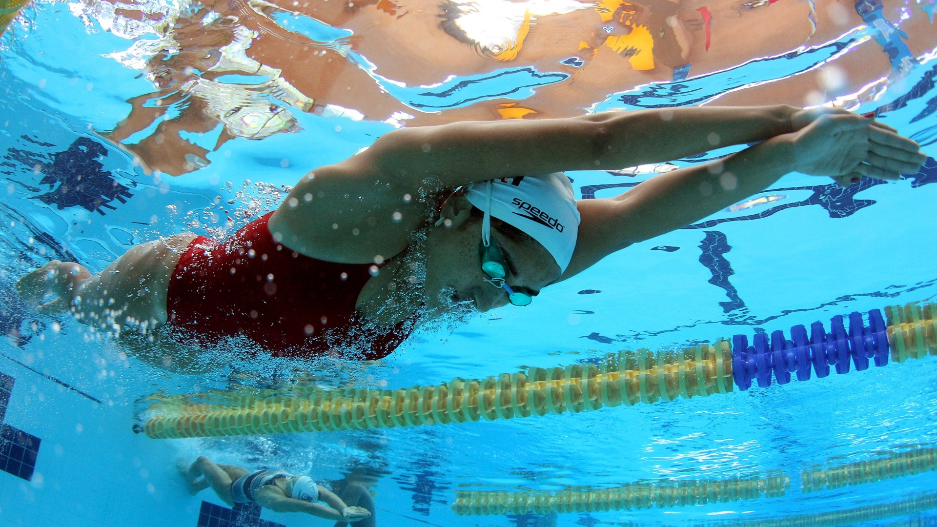 Daynara de Paula durante treinamento dos nadadores brasileiros no CT de La Loma, no México
