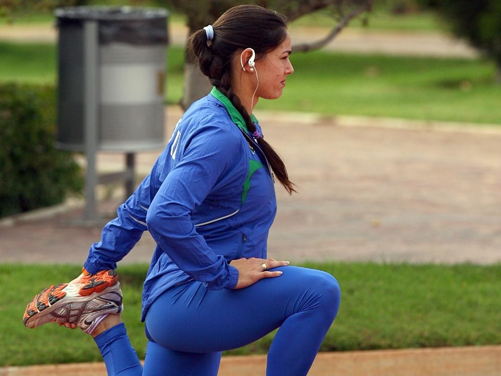 Franciela Krasucki durante treino de aclimatação no Centro Esportivo La Loma, em San Luis Potosí, no México