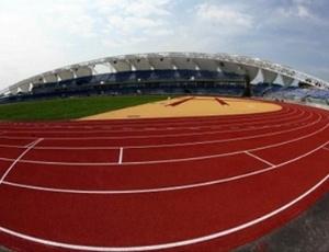 Pista de atletismo do Estádio Telmex, em Guadalajara, aprovada pela Iaaf para a disputa do Pan-2011