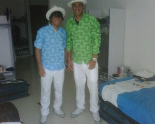 Misael e Douglas revelam uniforme da delegação brasileira na cerimônia de abertura dos Jogos Pan-Americanos (14/10/2011)