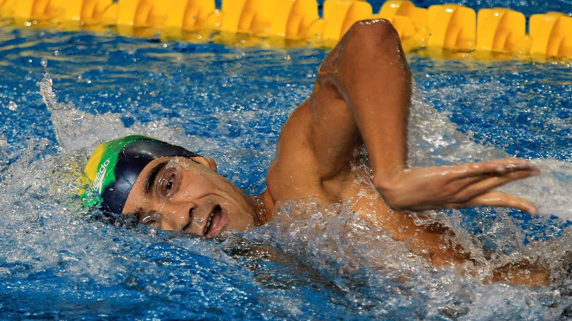 Diogo Yabe disputou os 400m medley e passou para a final com o 7º melhor tempo, 4min34s18 (15/10/2011)