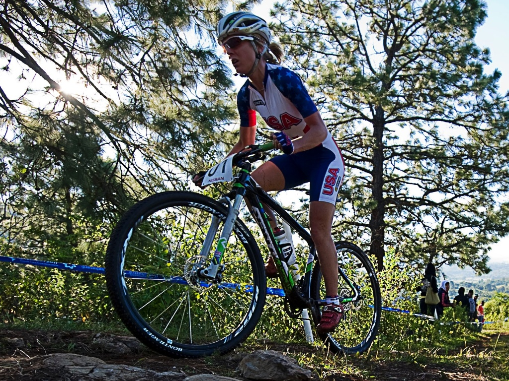 Heather Irmiger venceu a disputa do mountain bike feminino no Pan-2011 (15/10/2011)