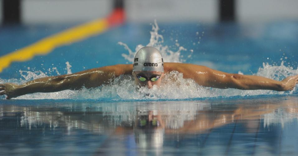 Thiago Pereira avançou à final dos 400m medley com o segundo melhor tempo (15/10/2011)