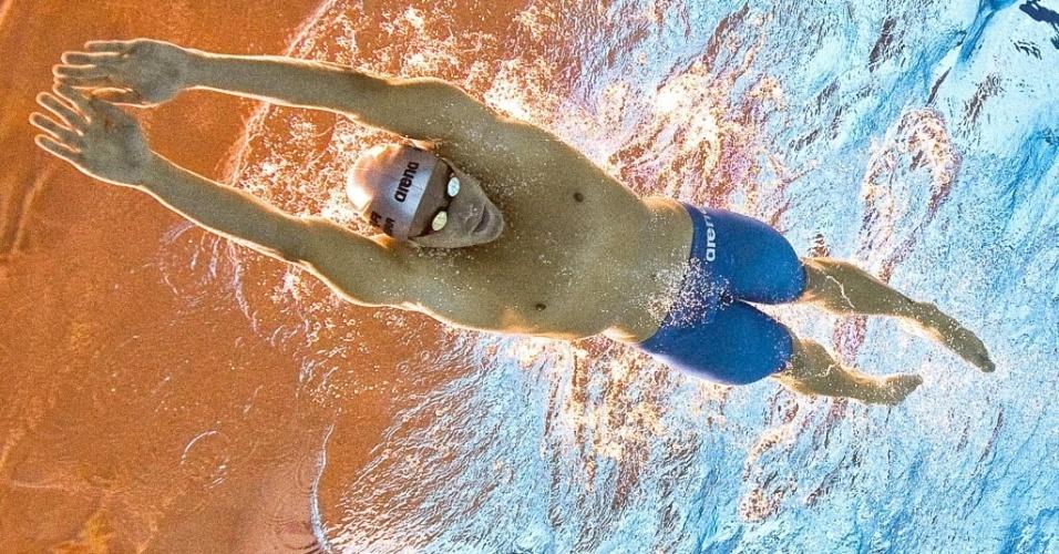 Thiago Pereira mergulha para nadar eliminatória dos 400m medley pelos Jogos Pan-Americanos de Guadalajara (15/10/2011)