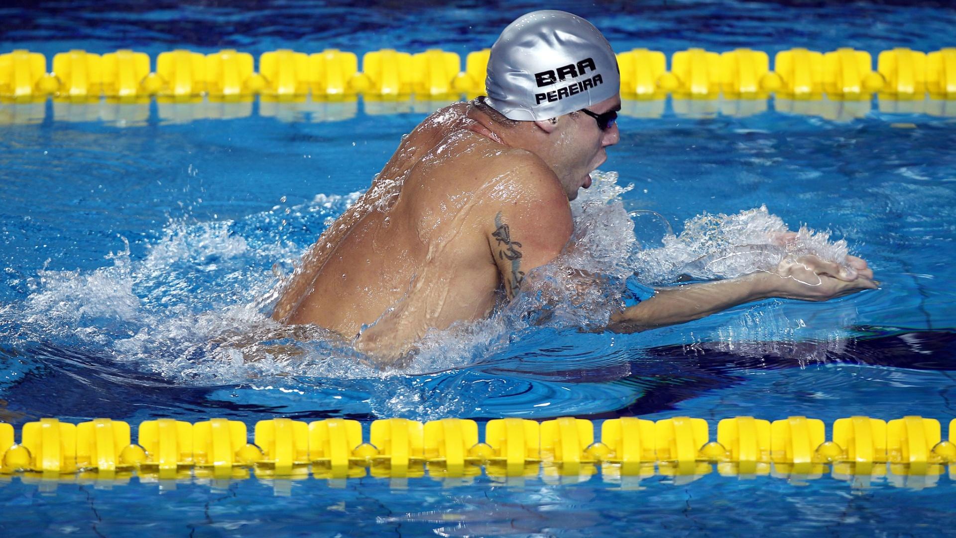 Thiago Pereira nada peito na prova dos 400m medley para conquistar a medalha de ouro no Pan (15/10/2011)