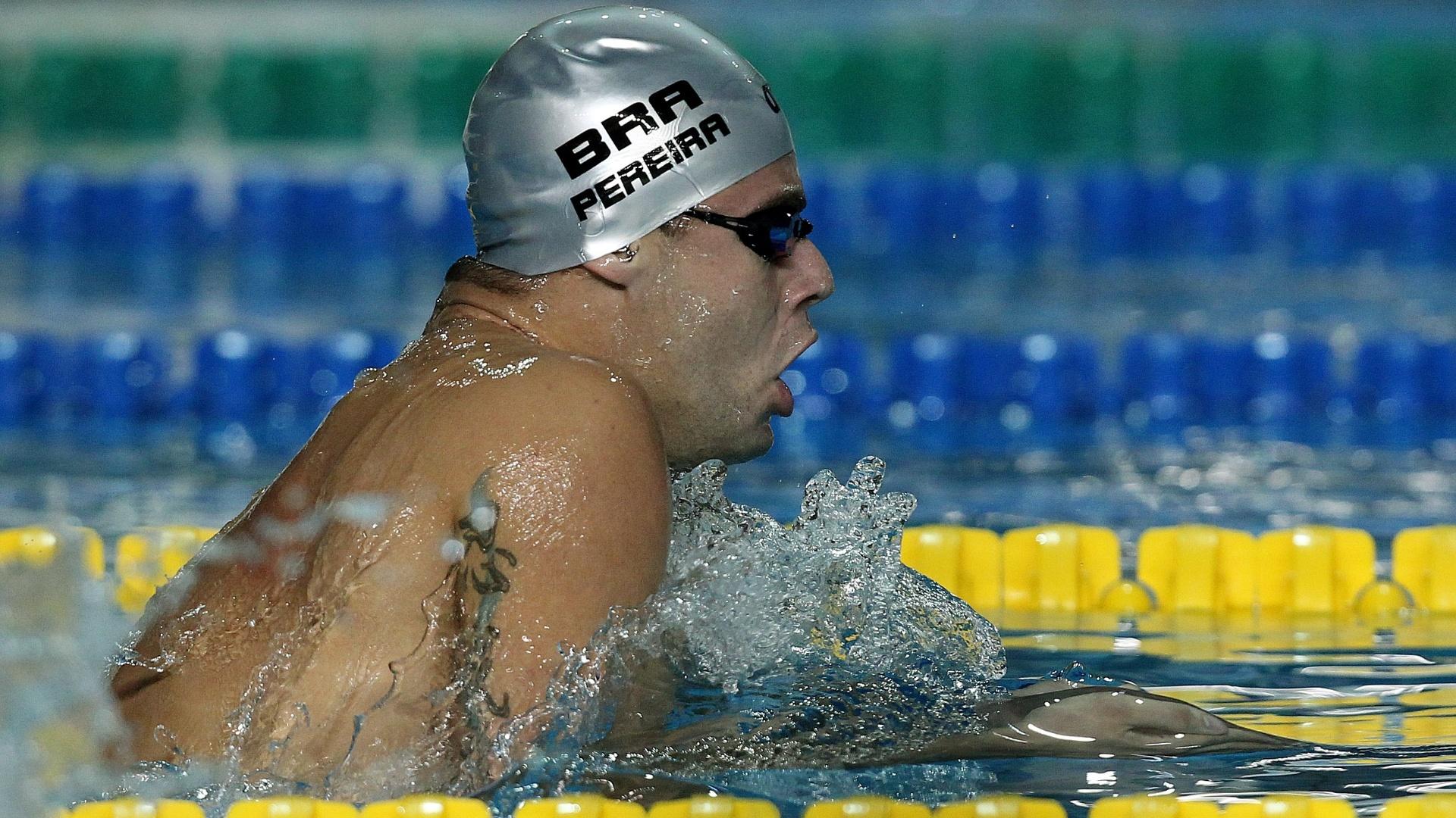 Thiago Pereira terminou na 2ª colocação da sua bateria nos 400m medley (15/10/2011)
