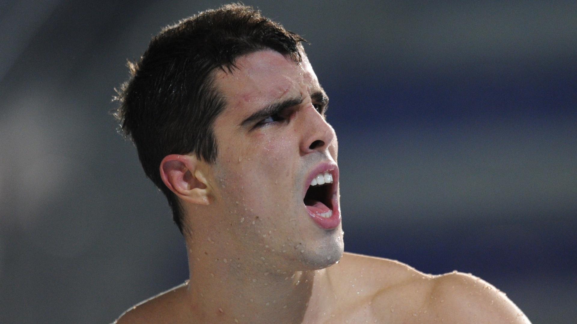 Bruno Fratus reage após ficar fora da final dos 100 m livre nos Jogos Pan-Americanos de Guadalajara (16/10/2011)
