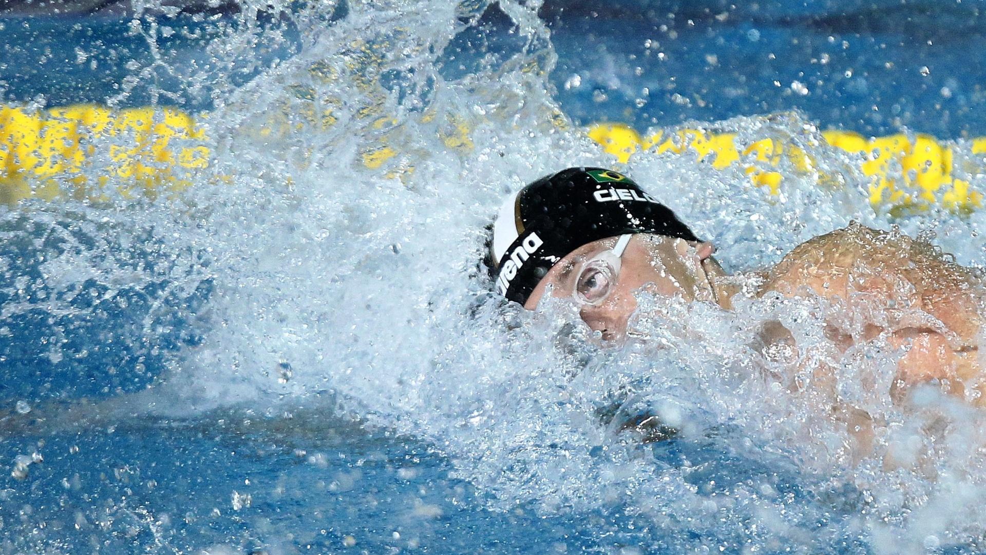 Cesar Cielo nada eliminatória dos 100m livre e registra o melhor tempo para se garantir na final pelo Pan de Guadalajara (16/10/2011)