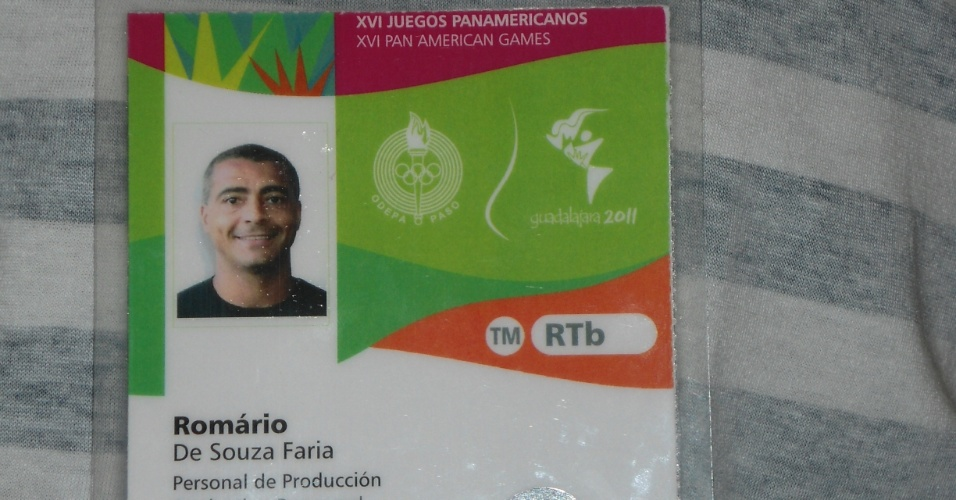 Crachá de Romário, comentarista da Record no Pan de Guadalajara