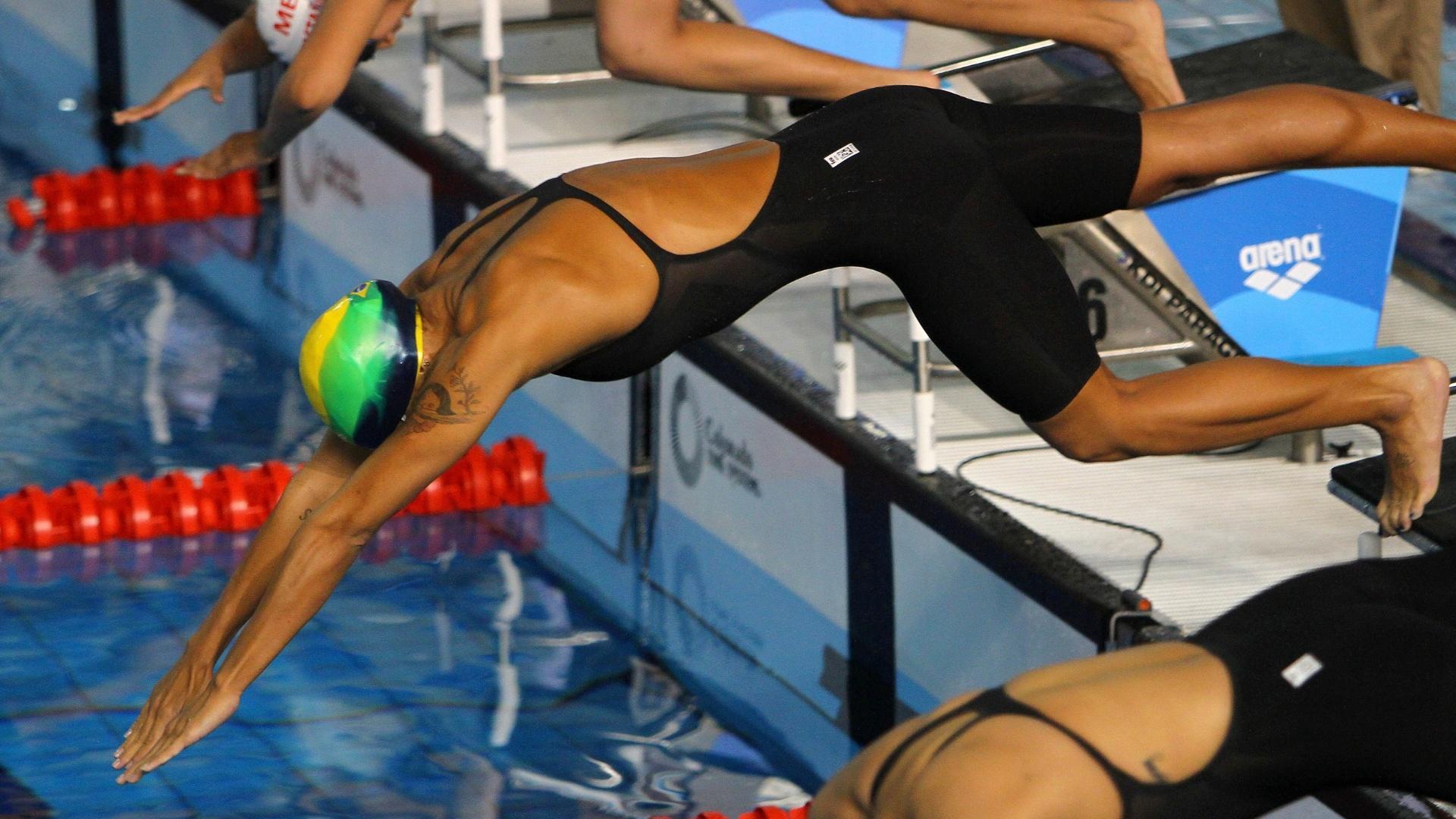 Joanna Maranhão esteve na final dos 400 m livres na noite desta segunda 17, a brasileira terminou a prova em 4º