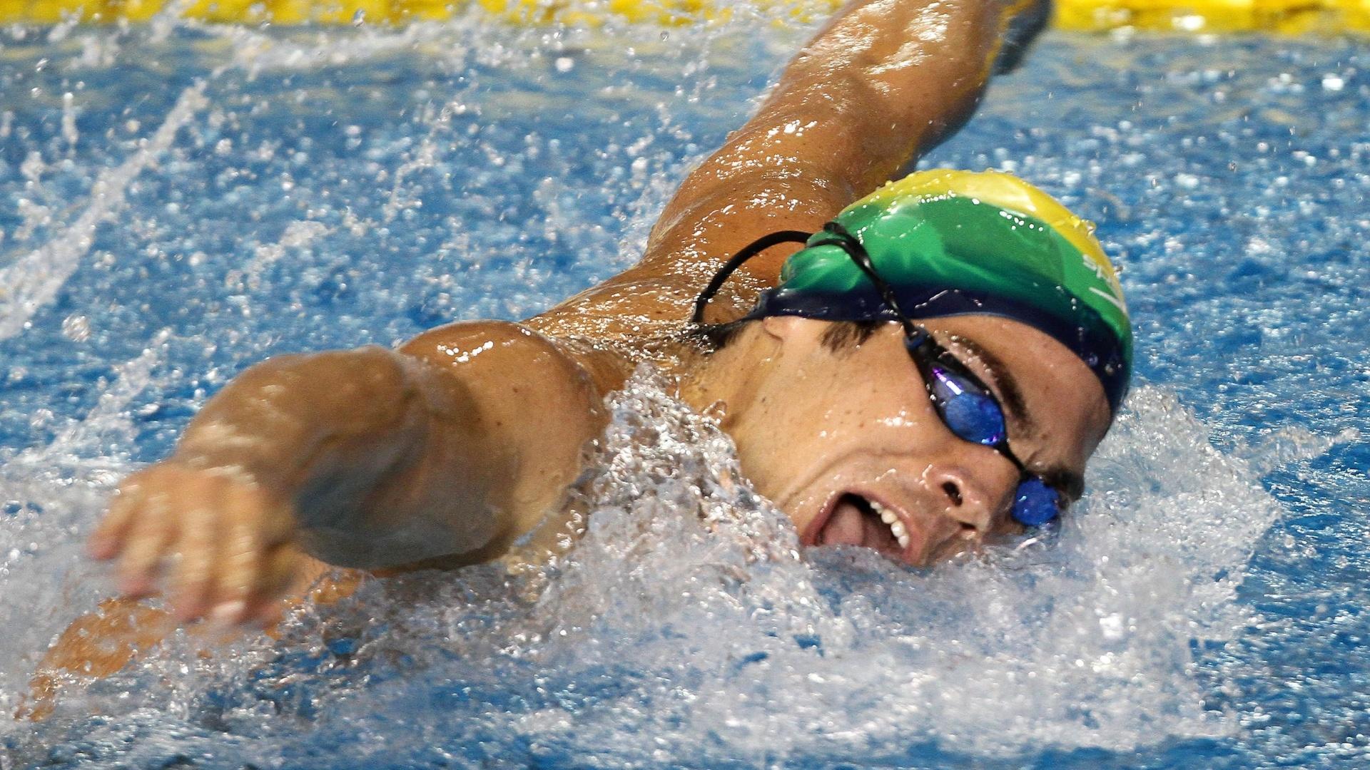 Kaio Márcio ficou com a medalha de bronze nos 200 m borboleta no Pan de Guadalajara (17/10/2011)