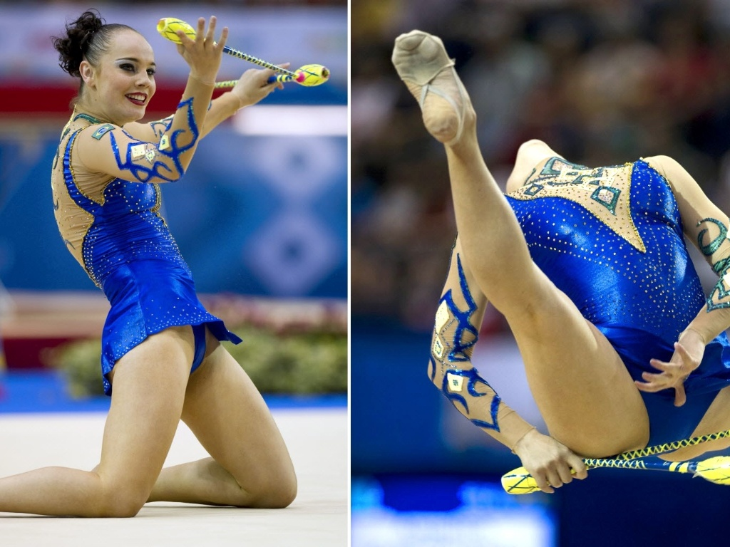 Angélica Kvieczynski faz performance na ginástica rítmica, que a levou à prata na prova das maças
