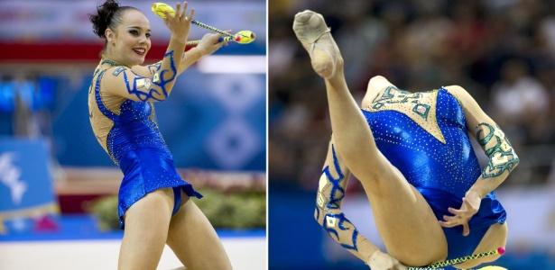 Angélica Kvieczynski faz performance na ginástica rítmica na prova das maças