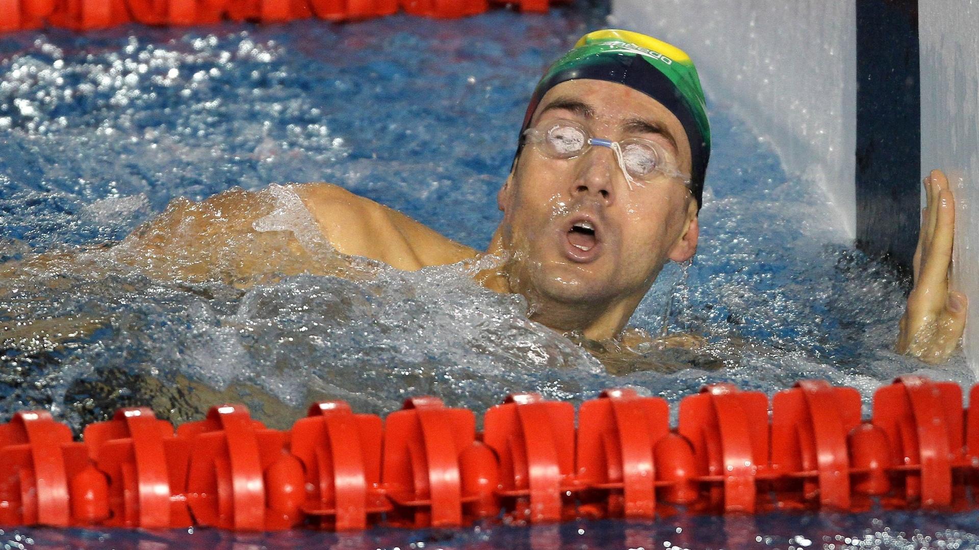 Com 1min50s96, André Schultz ficou em segundo lugar na sua bateria dos 200 m livre (18/10/2011)