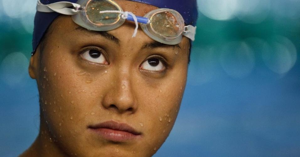 Nadadora Tatiane Sakemi do Brasil aquece antes do inicio das provas dos Jogos Pan-Americanos