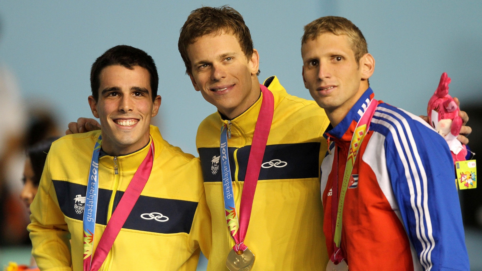 Cesar Cielo e Bruno Fratus venceram o ouro e a prata nos 50 m livre no Pan de Guadalajara (20/10/2011)