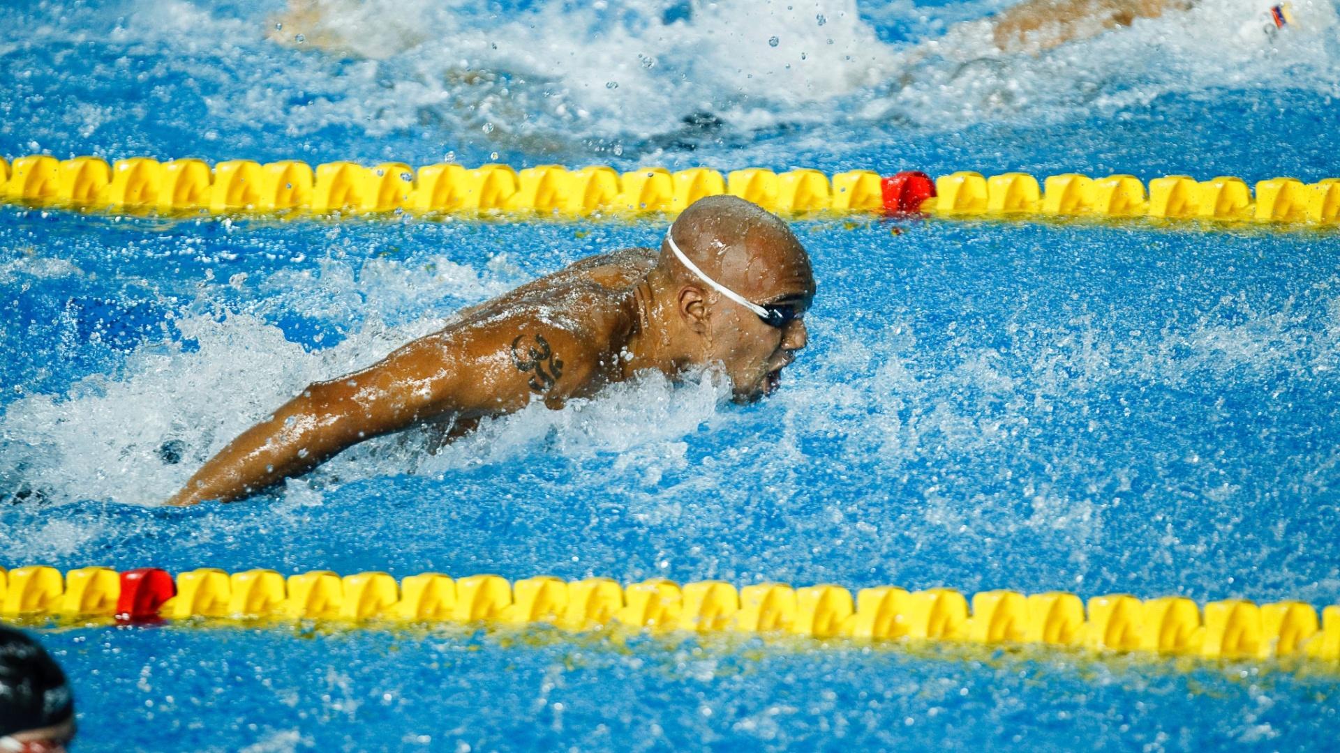 Gabriel Mangabeira terminou a final dos 100 m borboleta na 6ª colocação (20/10/2011)