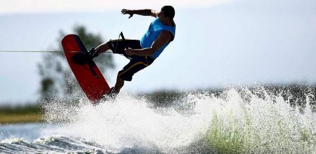 Marcelo Giardi, o Marreco, compete no esqui aquático dos Jogos Pan-Americanos