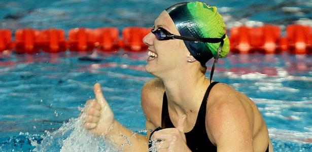 Gracielle Hermann surpreendeu e foi a prata nos 50 m livre, com o tempo de 25s23