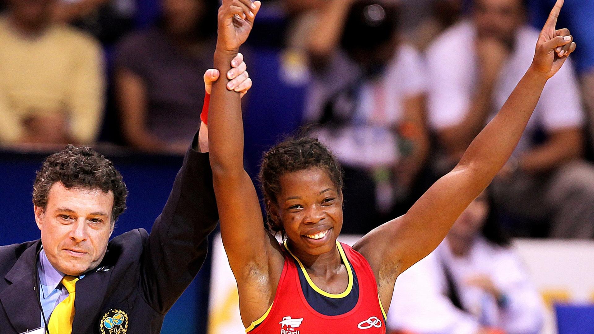 Joice Silva conquistou na repescagem a medalha de bronze na categoria até 55 kg na luta (22/10/2011)