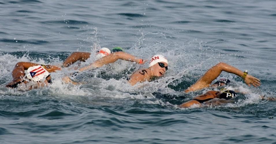 Nadadoras competem nos 10 km da maratona aquática, no Pan de Guadalajara; Poliana Okimoto ficou com a prata, e Ana Marcela Cunha foi quinta