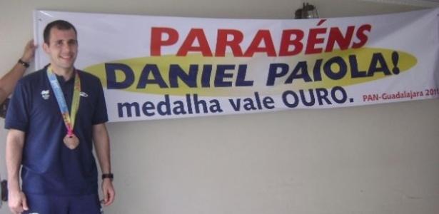 Daniel Paiola foi recebido com festa após medalha de bronze nos Jogos Pan-Americanos (23/10/2011)
