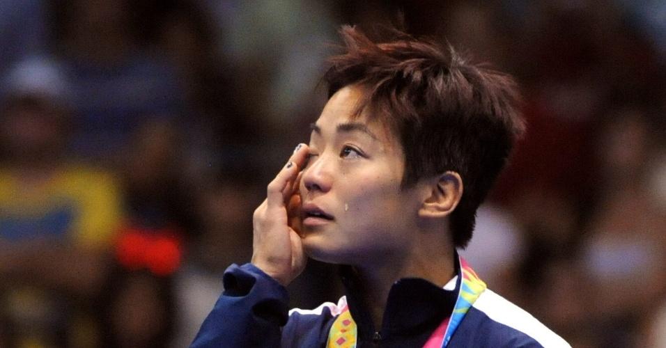 Depois de receber a prata na luta olímpica, a norte-americana Clarissa Chun não segurou as lágrimas