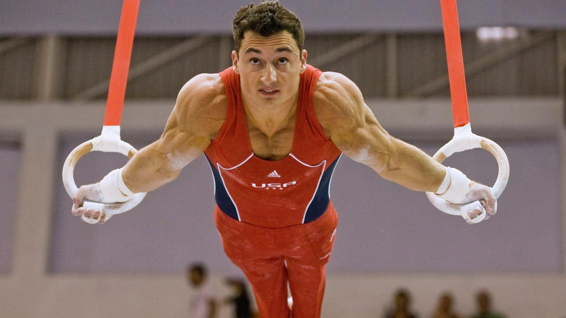 O ginasta norte-americano Brandon Wynn compete nas argolas nas eliminatórias por equipes no Pan de Guadalajara
