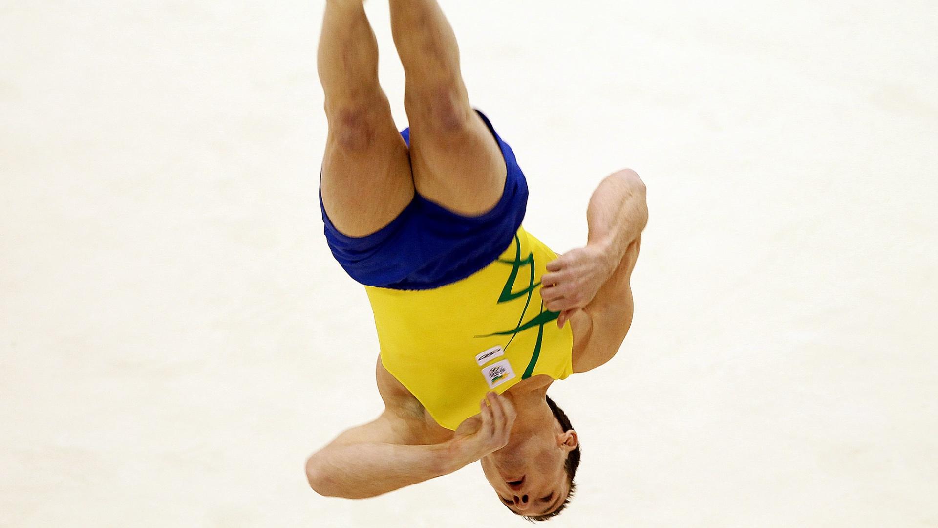 Diego Hypólito conquistou a medalha de ouro no solo no Pan de Guadalajara (27/10/2011)
