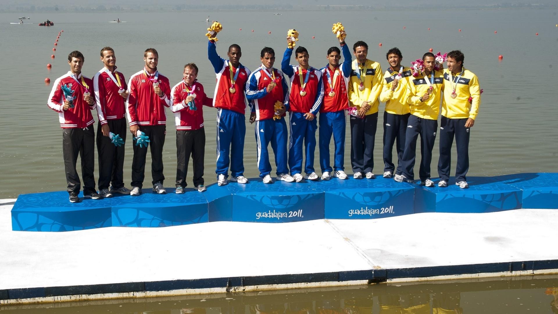 O Brasil ganhou a medalha de bronze no K4 1000 m na canoagem (27/10/2011)