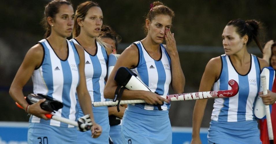 Argentinas do hóquei na grama saem de cabeça baixa após derrota para os Estados Unidos na disputa pelo ouro (28/10/2011)