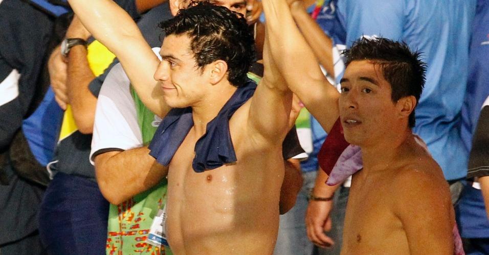Os mexicanos Yahel Ernesto Castillo (ouro) e Julian Isaac Sanchez (prata) fizeram a festa da torcida local na disputa do trampolim de 3m, nos saltos ornamentais no Pan de Guadalajara