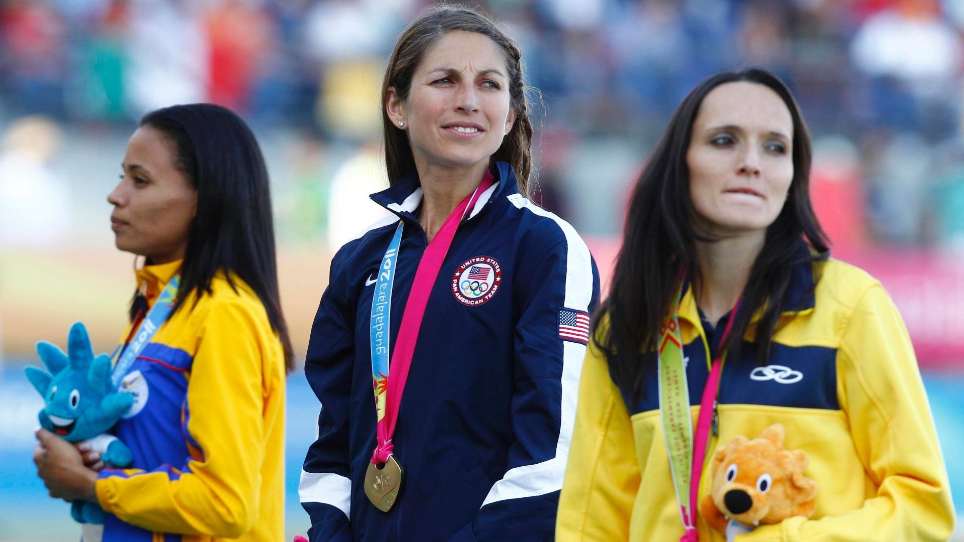 Sabine Heitling ganhou o bronze nos 3.000 m com obstáculos (28/10/2011)