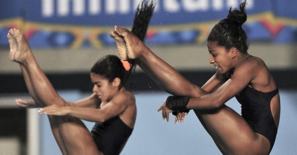 Andressa Mendes e Natali Cruz disputam os saltos ornamentais, no trampolim de 3 m; elas ficaram na sexta e última posição