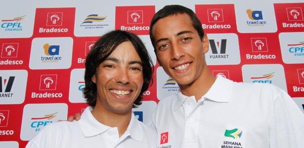 Gabriel Borges (d) e Alexandre Tinoco podem ganhar o ouro na categoria Snipe da vela