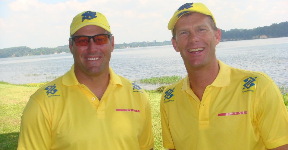 Bruno Prada e Robert Scheidt, velejadores da classe star, em entrevista em São Paulo (01/03/2012)