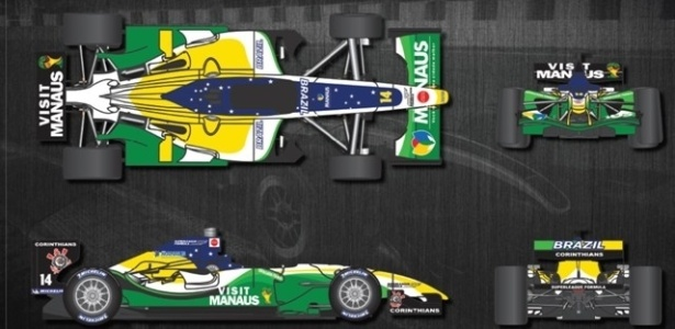 Imagem do novo carro do Corinthians na Superleague Formula, com as cores verde e amarelo (26/05/2011)