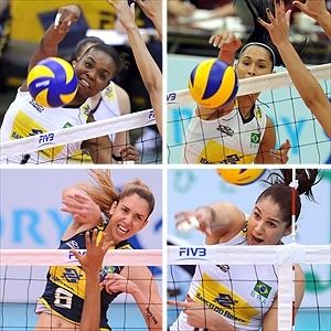 Atacantes da seleção brasileira (no sentido horário): Fabiana, Jaqueline, Natália e Thaísa
